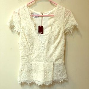 bebe Plunging Lace Peplum Top